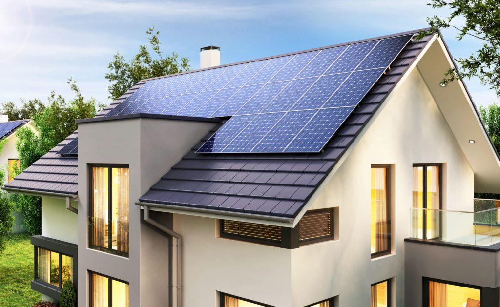 Fachada de casas con diseño sostenible